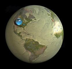Earth's water: Most of it is saline and undrinkable. A lot of the fresh water is underground or locked in polar and glacial ice.