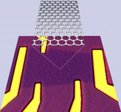 Graphene computer chips: The slightly darker purple area is the graphene, and the lighter purple is the substrate material (SiO2/Si).