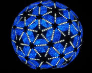 Going green: When the New Year's Ball drops on Times Square next week, the new unit will be much more energy efficient, using the same amount of power as it takes to operate 10 toasters. This blue color is one of 16 million hues that the ball will be able to transmit