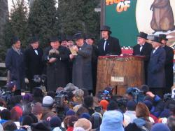Punxsutawney Phil: Surrounded by his attendant wizards.