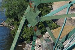 Gusset plate visible in the I-35 bridge wreckage.