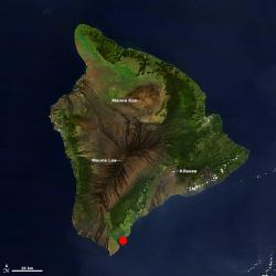 Kamilo Beach on the Big Island of Hawaii: the red dot marks beach's approximate location.