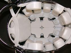 Head sensors: The interior of this Riddell football helmet shows the arrangment of sensors around the top of the head that can detect potential concussion-causing hits. (Photo courtesy of Riddell)