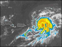 Tropical storm Chris: Early August 2, as the storm approached the eastern edge of the Caribbean (Photo courtesy NOAA)