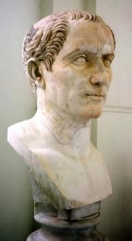 Marble bust of Gaius Julius Caesar: This is not the recently discovered one, but rather a typical posthumous bust of Caesar. Evidently all busts of the dictator in Rome were posthumous.