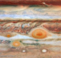 "See Spots spin: In recent years, Jupiter has picked up a couple new red spots. While the Great Red Spot (right) has raged for hundreds of years, newer smaller red  spots -- Red Spot, Jr., (middle) and ""Baby Spot"" (left) have emerged."