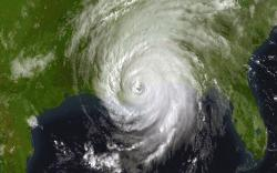 Hurricane Katrina, 8/29/05: This image was taken by NOAA's Geostationary Operational Environmental Satellite (GOES).