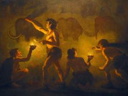 Painting a new picture of human evolution: A finger bone found in a cave in southern Siberia may add another species to human evolution. (Painting by Charles R. Knight, AMNH).