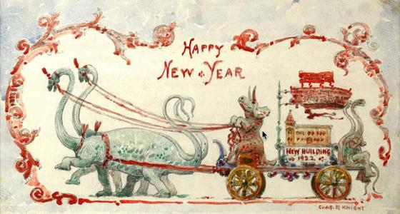 Happy New Year!: Famed paleo-artist Charles R. Knight created this cool holiday card for 1922.