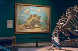 Painting by Charles R. Knight: Dinosaurs and Fossils gallery at the Science Museum of Minnesota. Lucy Knight Steel gave her father's 1930 painting to Einar G. C. Lofgren, who donated it to the museum.