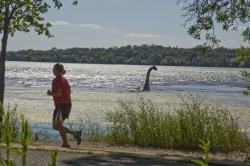 Mysterious creature invades local lake: Local woman seen fleeing for her life. Is anyone safe?