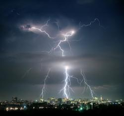 Lightning better than this: This is how we usually see lightning photographed. Click on the story links to see the copyrighted images of high-speed lightning photography.