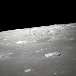 Industrial sites for sale?: According to some futurists, the moon could be the creation site and launching pad of missions to Mars. Robots would use materials found on the moon to make the spacecraft and then be able to blast off faster and cheaper from the moon's smaller gravitational pull. (Photo from NASA)