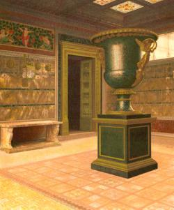 Nine-foot Malachite Vase: The ornate Neo-classical vase made of the mineral malachite stood in the vestibule of William H. Vanderbilt's Fifth Avenue Twin Mansions. This is one of two matching urns originally created for Czar Nicholas of Russia. He presented one to Count Demidoff, and Vanderbilt purchased it from his estate in 1880. It now resides at the Metropolitan Museum of Art. Its twin can be seen at the Hermitage in St. Petersburg, Russia.
