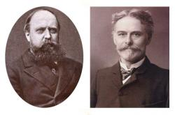 Marsh and Cope: Othniel Charles Marsh (left) and Edward Drinker Cope (right). The pioneer paleontologists were once friends who became bitter rivals. During the famous 19th century Bone Wars they competed to collect and name as many dinosaurs as they could.