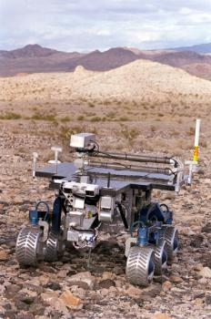 Rolling discovery: The Mars rover Spirit, similar to this NASA rover called Fido, has made an unusual discovery of clues to life on Mars because of a bad wheel.