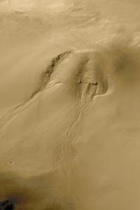 More Mars water: Here's a second image of another water runoff gully on Mars. (Photo from NASA)
