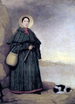 Mary Anning (1799-1847): Portrait of the acclaimed amateur paleontologist with her companion dog, Tray, c. 1833.