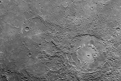 Moon or Mercury?: This image from the recent Mercury passby of the Messenger spacecraft shows the planet's surface to be much like our Moon's.