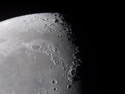 The lunar surface: The Sea of Rains (lower plain) and Sea of Cold (upper plain) on the Moon's surface. Early astronomers may not have been completely wrong thinking the Moon's mare were oceans of water.