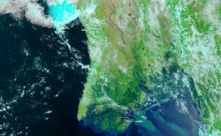The Myanmar coast on May 5: pictures taken by NASA's Terra satellite.