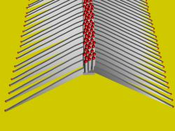 Nano light emitters: Single row of nanowires (cylinders with red tops) with fin-shaped nanowalls extending outward (Nati