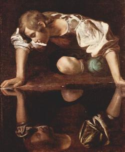 Don't do it, Narcissus: You can't fox around with your own reflection! And you shouldn't try!