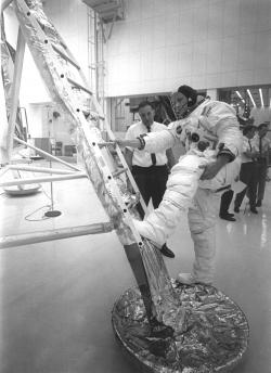 That's one big step for a man: Just days before the launch of the Apollo 11 mission, Neil Armstrong is photographed practicing his descent from the Lunar Module.