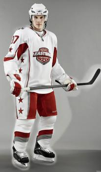 New uniform: Sidney Crosby of the Pittsburg Penguins models one of the new uniforms used at last week's NHL all-star game. Scientific research went into the designs with hopes of speeding up the game.