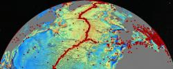 New seafloor map: the red dots represents earthquake occurrences