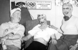 The East German Women's Swim Team: Members share a laugh between events at the 1952 Summer Games in Helsinki.