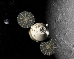 The Orion crew exploration vehicle: This rendering represents a concept of the Orion crew exploration vehicle. NASA's Constellation Program is getting to work on new spacecraft that will return humans to the moon and blaze a trail to Mars and beyond.  Image courtesy:Lockheed Martin Corp.