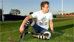 Blades of glory: Disabled South African sprinter Oscar Pistorius is challenging rules that prevent him from competing in the Beijing Olympics. He's the current world record holder in the Para Olympics 400 meters.