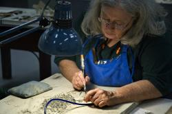 Removing matrix: Science Museum of Minnesota fossil preparator Becky Huset uses an air scribe to methodically remove the thin rock veneer covering the remains of Lepisosteus, a fossil gar.
