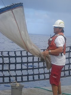 The marine engineer is getting ready to deploy the plankton net off the stern of the ship.