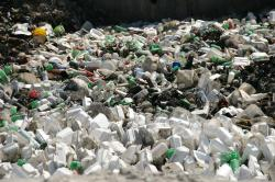 Plastic refuse obliterates the shoreline in Haiti