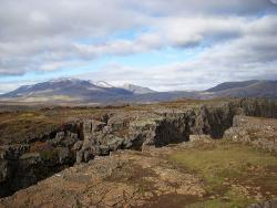 Boundary of North American and Eurasian plates seen along the Mid-Atlantic Ridge in Iceland: Westward view over the top of the east edge of the North American tectonic plate.