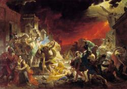 Slower destruction of Pompeii: This famous painting depicts the sudden destruction of Pompeii, Italy, some 2,000 years ago. Sustained rains are now destroying some of the archeological sites there these days.
