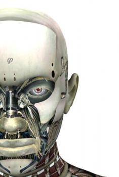The scariest of robots: And how do I know there's a monkey brain inside? Look how angry it is.