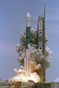 A rocket blasts off.  Photo from National Reconnaissance Office.