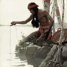 Wetting a line: Artist's depiction of how native people may have fished.