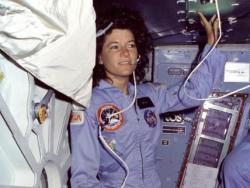 Astronaut Sally Ride: on the mid-deck of the space shuttle.