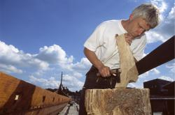 Old tools: The recreated Sea Stallion was made using hand tools as close as possible to the tools used in the Viking age. (Photo courtesy of the Viking Ship Museum, Roskilde, Denmark)