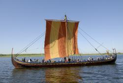 Colorful Viking: Hitting the open waters of the North Sea in July and August, the Sea Stallion Glendalough will be retracing the route of a 9th Century Viking voyage. (Photo courtesy of the Viking Ship Museum, Roskilde, Denmark)