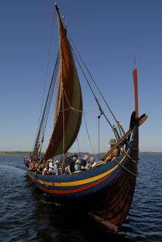 Sailing colors: Builders of the Sea Stallion had to guess on the color scheme of the ship's sail and trim, but have an accurate recreation of the ship's shape. (Photo courtesy of the Viking Ship Museum, Roskilde, Denmark)