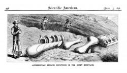 Sketch by Arthur Lakes: From a Scientific American article detailing the discovery of dinosaur remains near Morrison, Colorado.