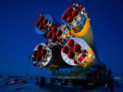 Soyuz TMA-03M spacecraft is rolled out by train on its way to the launch pad at the Baikonur Cosmodrome, Kazakhstan.