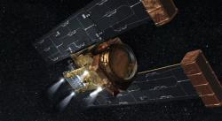 Stardust's burn to depletion: On March 24 four rocket motors on NASA's Stardust spacecraft, illustrated in this artist's concept, fired until the spacecraft's fuel was depleted.