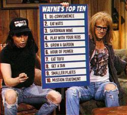 Dude, do these things to get to 100: Wayne and Garth, through this altered photo on the Blue Zone website, give you the top ten habits to adopt to live to be 100.