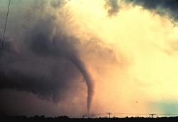 Tornado: This tornado, seen in its early stages of formation over Union City, Oklahoma (May 24, 1973), was the first one caught by the National Severe Storms Laboratory doppler radar and chase personnel. (Photo courtesy NOAA Photo Library, NOAA Central Library; OA